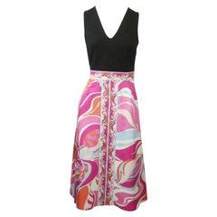 Emilio Pucci Black Knit and Multi Silk Print Sleeveless Dress - 4