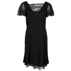 Emilio Pucci Black Lace Trim Flutter Sleeve Dress M