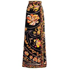 EMILIO PUCCI Black Orange Yellow Signature Floral Print Velvet Maxi Skirt, 1960s