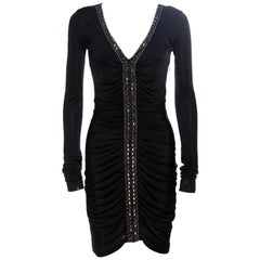 Emilio Pucci Black Ruched Jersey Rhinestone Embellished Long Sleeve Dress S