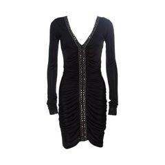 Emilio Pucci Black Ruched Jersey Rhinestone Embellished Long Sleeve Dress S