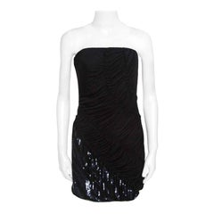 Emilio Pucci Black Sequin Embellished Ruched Strapless Dress M