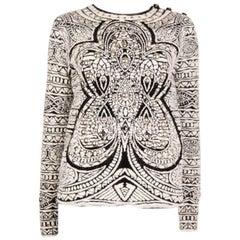 EMILIO PUCCI black & white angora wool STUDDED Sweater M