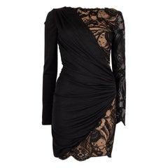 EMILIO PUCCI black wool JERSEY & LACE MINI Dress 40 S