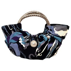Emilio Pucci Blue Abstract Print Evening Bag With Silver Tone Crystal Closure