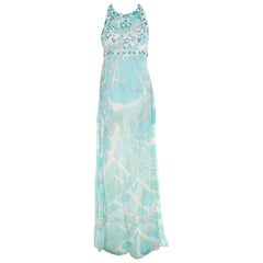 Emilio Pucci Blue and White Embellished Silk Cutout Back Detail Maxi Dress M