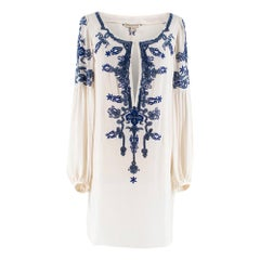 Emilio Pucci Blue Embellished Silk-Crepe Tunic XS