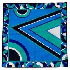 Emilio Pucci Blue & Green Geometric Scarf
