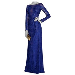 Emilio Pucci Blue Lace Illusion Gown - Size US 0-2