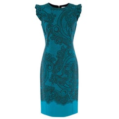Emilio Pucci Blue Lace Printed Dress - Size US 6