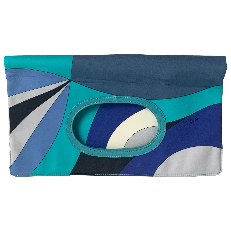 Emilio Pucci Blue & White Fold Over Clutch/ Handbag