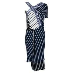 Emilio Pucci Blue & White Mixed Pattern Knit One Shoulder Asymmetrical Dress