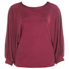 Emilio Pucci Bordeaux Silk Knit Batwing Sleeve Top M