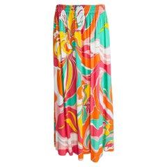 Emilio Pucci Bright Jersey Print Gored Midi Skirt