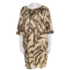 Emilio Pucci Brown and Beige Foil Printed Silk Long Sleeve Dress S