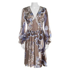 Emilio Pucci Brown and Blue Printed Silk Plunge Neck Long Sleeve Dress M