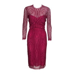 Emilio Pucci Burgundy Floral Lace Scalloped Trim Draped Dress M