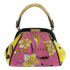 EMILIO PUCCI by Jana c.1960s Floral Signature Print Velveteen Structured Handbag