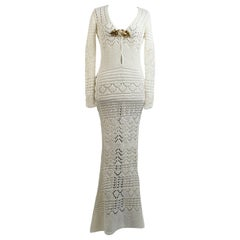 Emilio Pucci by Peter Dundas 2011 White Crochet Maxi Dress Gown