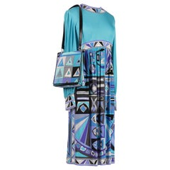 Emilio Pucci c. 1968 Turquoise Signature Print Silk Dress & Shoulder Bag Set