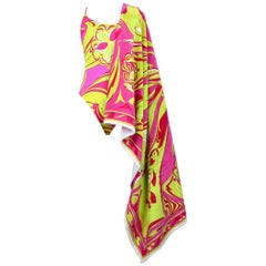 "EMILIO PUCCI c. 1990s Pink & Green ""Lillium"" Motif Swimsuit and Beach Towel Set"