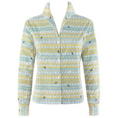 "EMILIO PUCCI c.1950's ""Pantera"" Geometric Medieval Print Button-Down Shirt Top"
