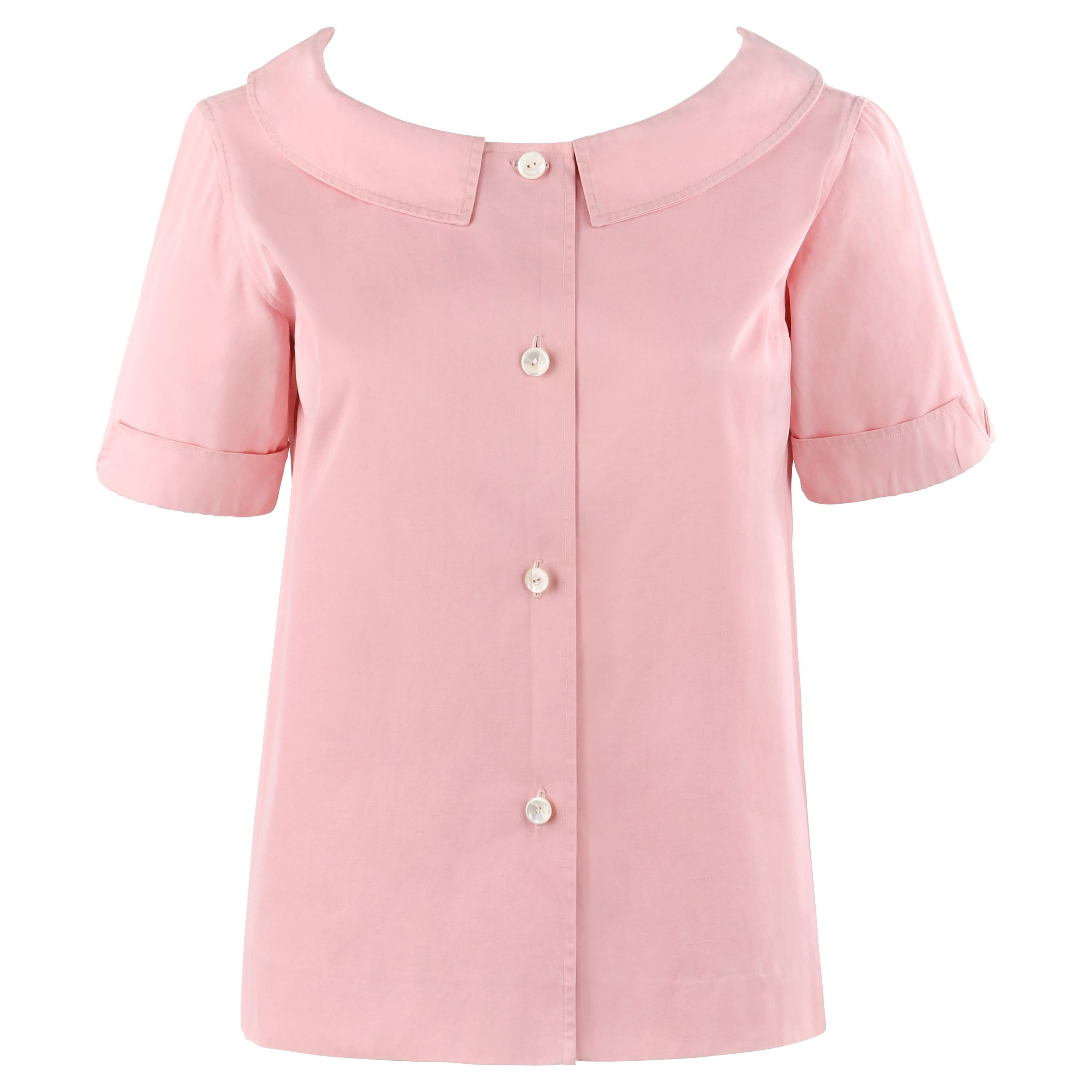 EMILIO PUCCI c.1950's Pink Button Up Short Sleeve Blouse Top - Early Design