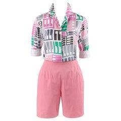EMILIO PUCCI c.1960's 2 Pc Pink Multi-color Tribal Button Front Shirt Shorts Set