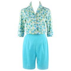 EMILIO PUCCI c.1960's 2 Pc Teal Multi-color Geometric Button Up Shirt Shorts Set