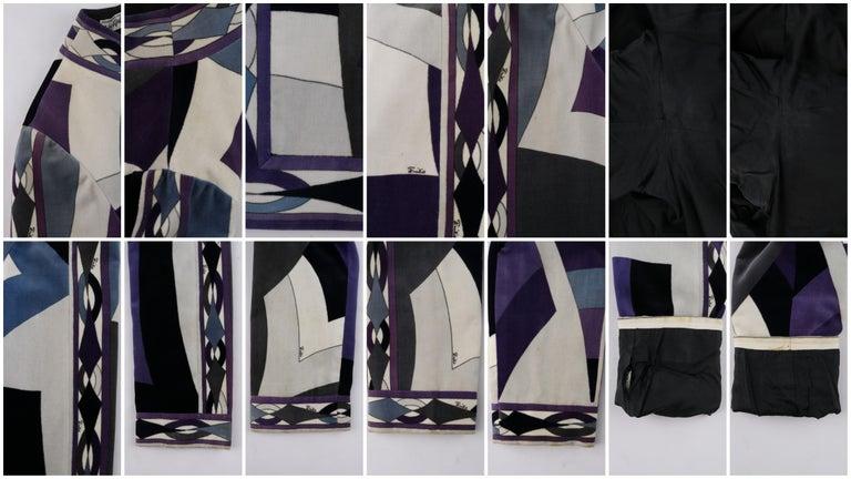 EMILIO PUCCI c.1960's 2pc Geometric Signature Print Velveteen Dress Jacket Set For Sale 6