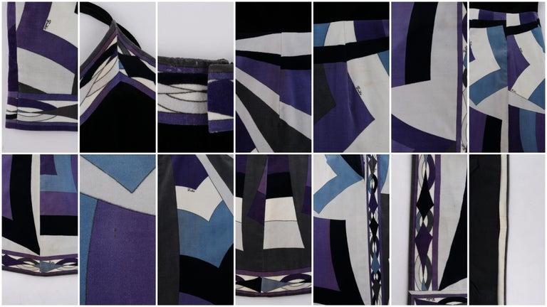 EMILIO PUCCI c.1960's 2pc Geometric Signature Print Velveteen Dress Jacket Set For Sale 7