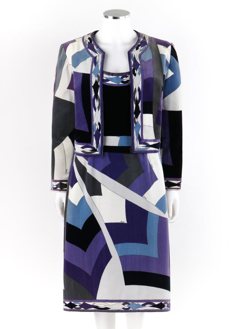 EMILIO PUCCI c.1960's 2pc Geometric Signature Print Velveteen Dress Suit Set   Circa: 1960's Label(s): Emilio Pucci; Exclusively for Saks Fifth Avenue Designer: Emilio Pucci Style: Dress suit set Color(s): Shades of purple, blue, white, gray