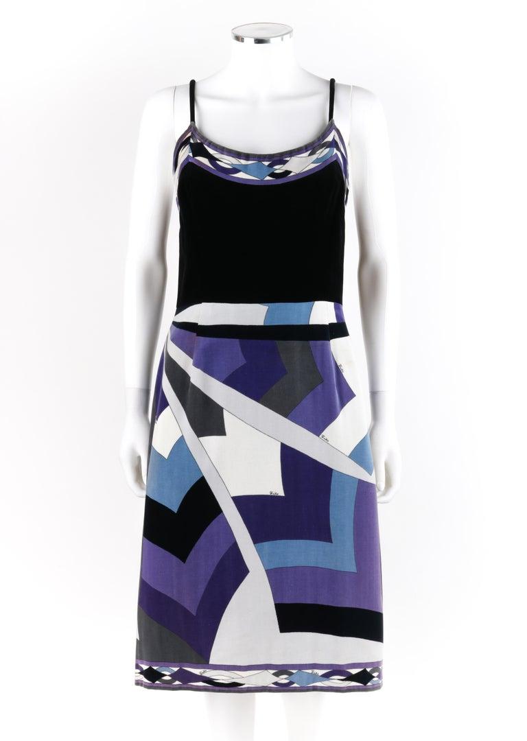 Purple EMILIO PUCCI c.1960's 2pc Geometric Signature Print Velveteen Dress Jacket Set For Sale