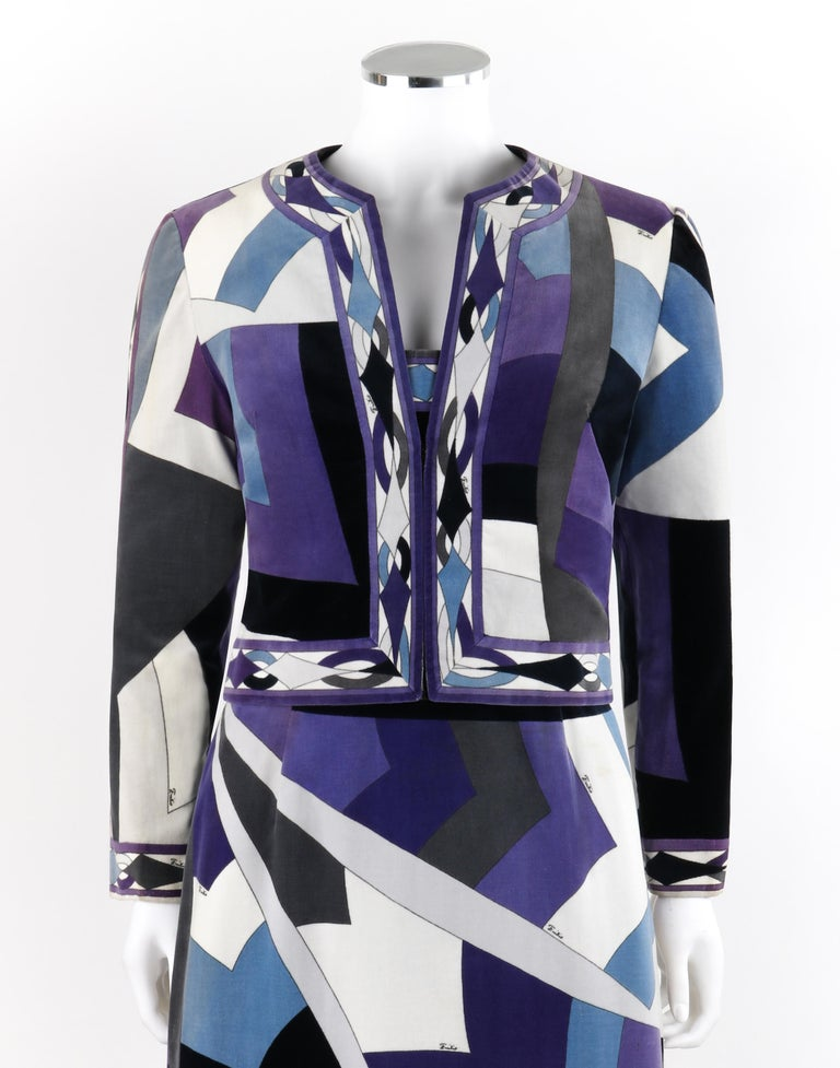 EMILIO PUCCI c.1960's 2pc Geometric Signature Print Velveteen Dress Jacket Set In Good Condition For Sale In Thiensville, WI