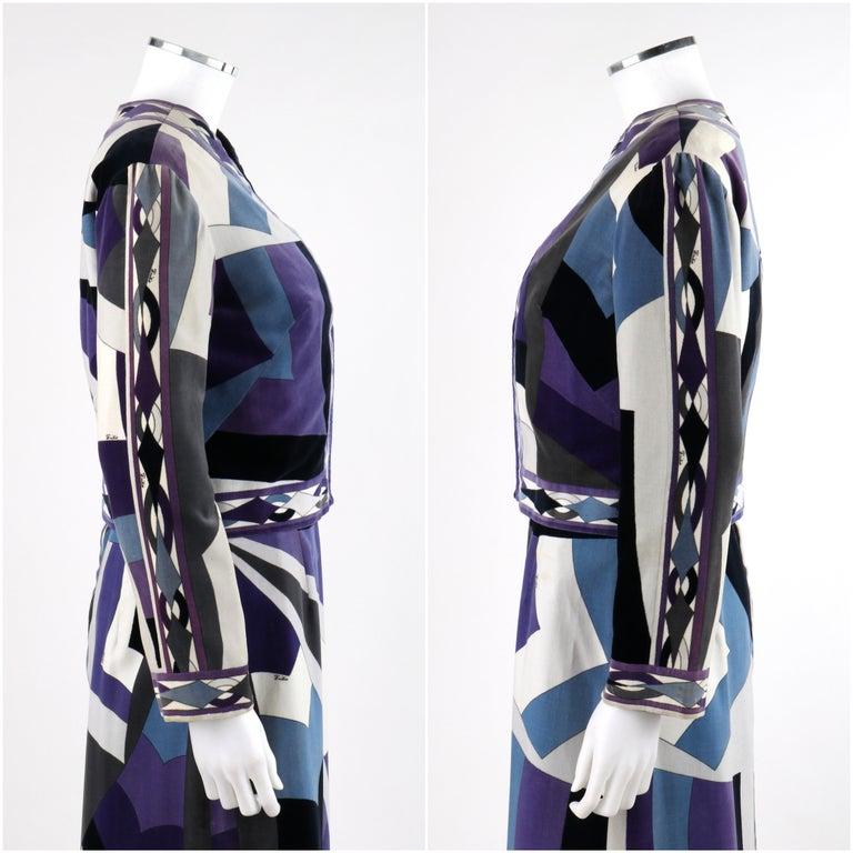 Women's EMILIO PUCCI c.1960's 2pc Geometric Signature Print Velveteen Dress Jacket Set For Sale