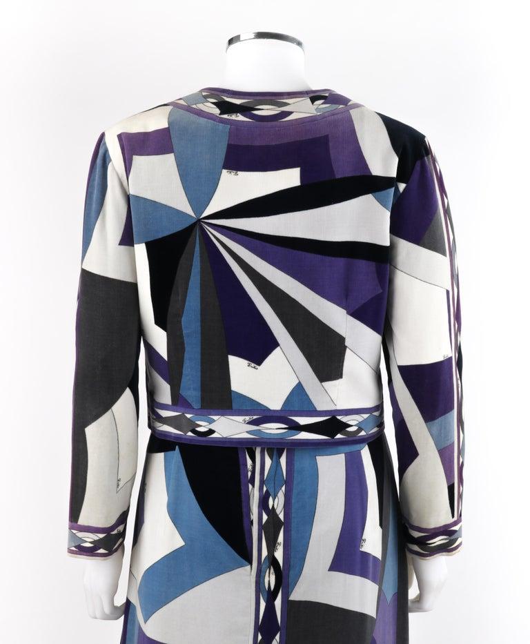 EMILIO PUCCI c.1960's 2pc Geometric Signature Print Velveteen Dress Jacket Set For Sale 1