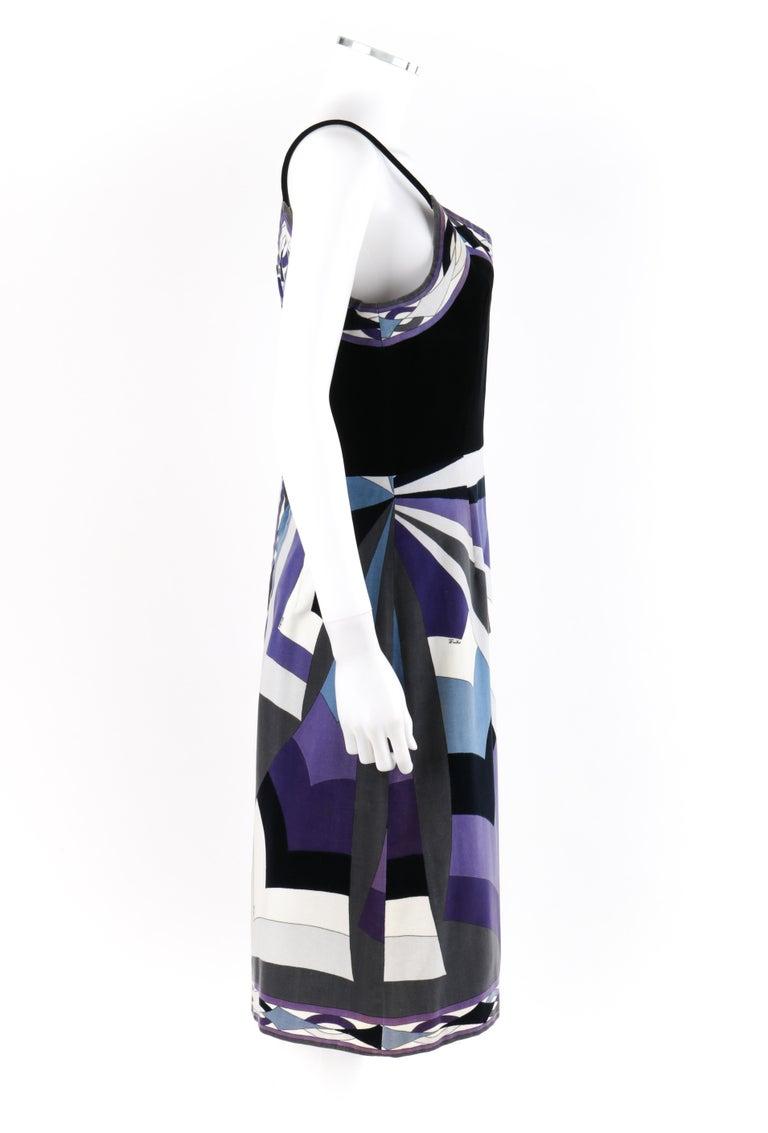 EMILIO PUCCI c.1960's 2pc Geometric Signature Print Velveteen Dress Jacket Set For Sale 2