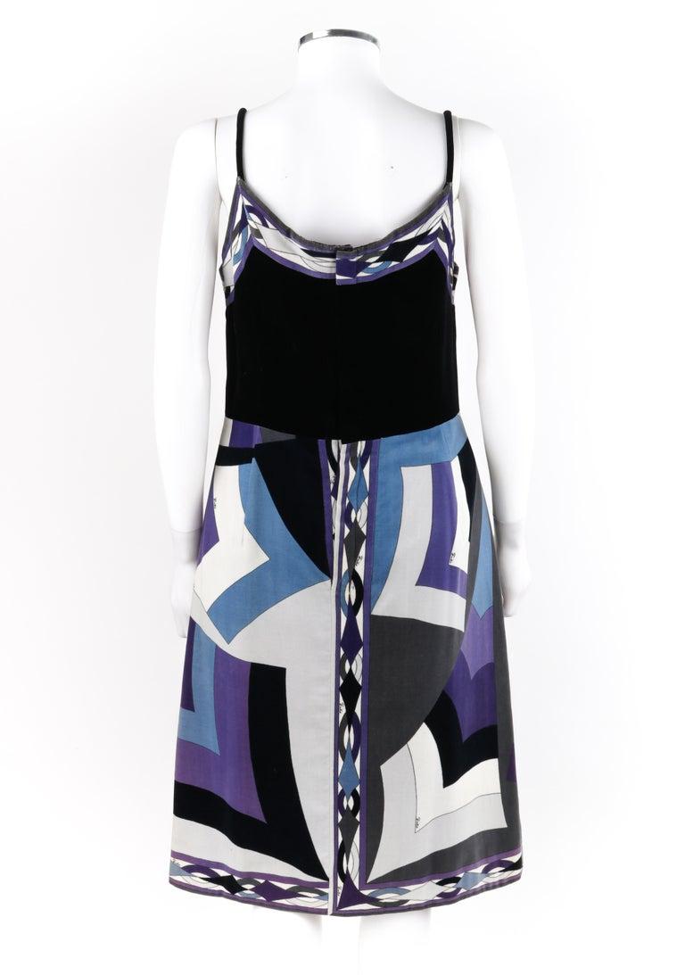 EMILIO PUCCI c.1960's 2pc Geometric Signature Print Velveteen Dress Jacket Set For Sale 3