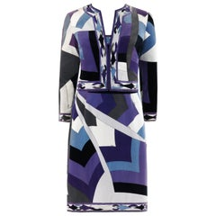 EMILIO PUCCI c.1960's 2pc Geometric Signature Print Velveteen Dress Jacket Set