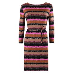 EMILIO PUCCI c.1960's Abstract Geometric Stripe Signature Belted Shift Dress