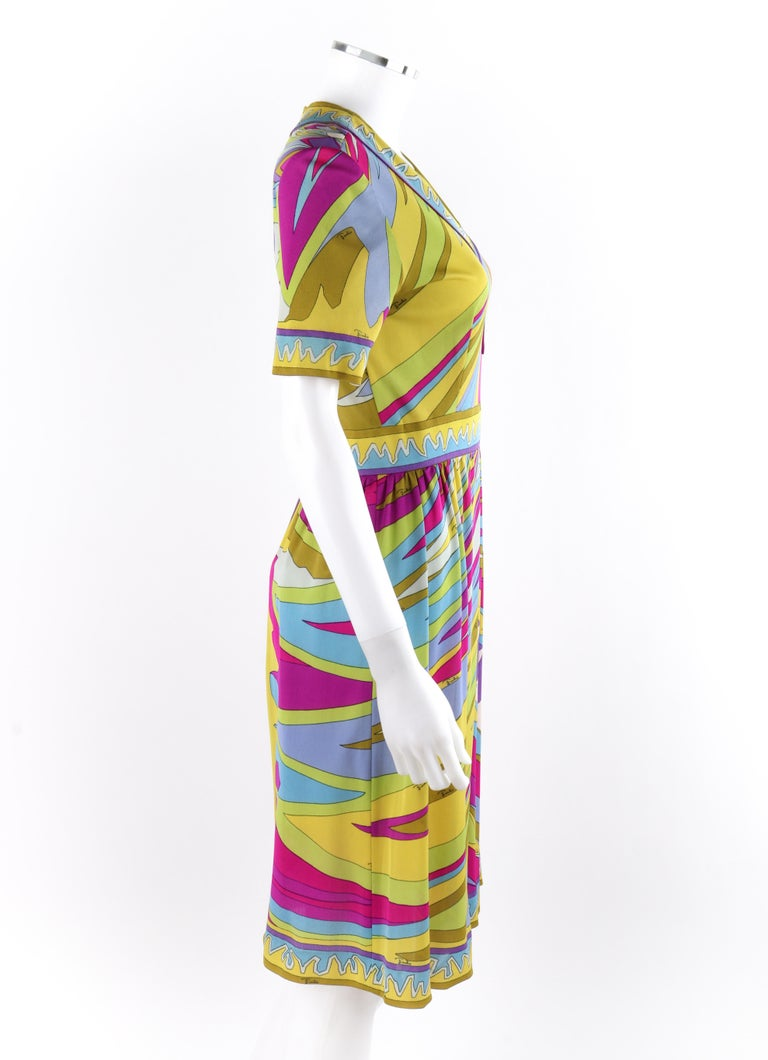 Brown EMILIO PUCCI c.1960's Abstract Stripe Op Art Signature Print V-Neck Sheath Dress For Sale