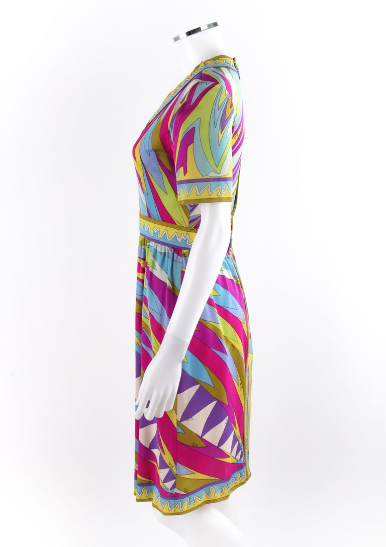 Women's EMILIO PUCCI c.1960's Abstract Stripe Op Art Signature Print V-Neck Sheath Dress For Sale