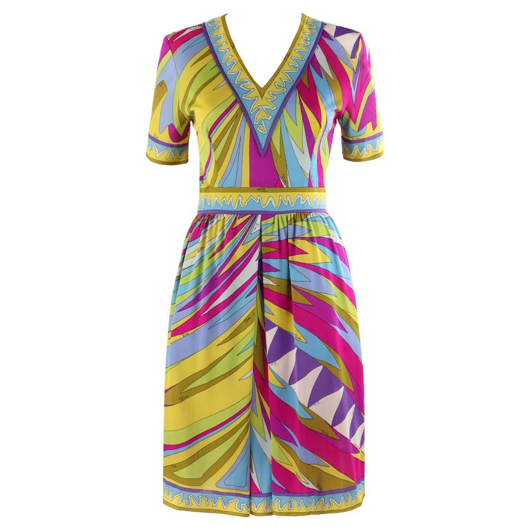 EMILIO PUCCI c.1960's Abstract Stripe Op Art Signature Print V-Neck Sheath Dress For Sale