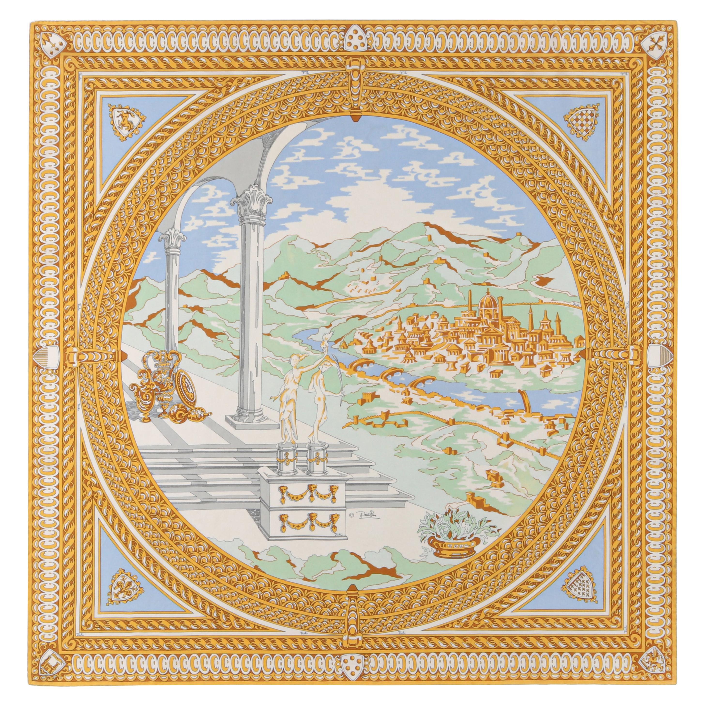 EMILIO PUCCI c.1960's Blue Gold Ancient Florence City Print Square Silk Scarf