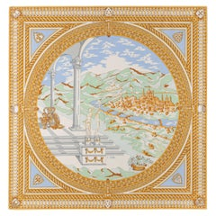 EMILIO PUCCI c.1960's Blue Gold Ancient Florence City Print Square Silk Scarf