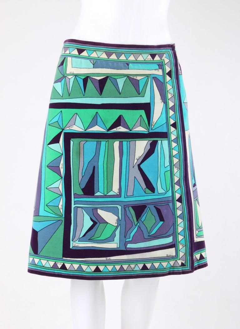 huge selection of a27b0 17adb EMILIO PUCCI c.1960's Blue Multicolor Signature Print Velvet A-Line Wrap  Skirt