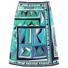 EMILIO PUCCI c.1960's Blue Multicolor Signature Print Velvet A-Line Wrap Skirt