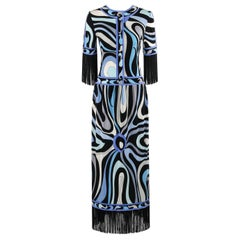 EMILIO PUCCI c.1960's Blue Signature Op Art Fringe Drop Waist Silk Maxi Dress