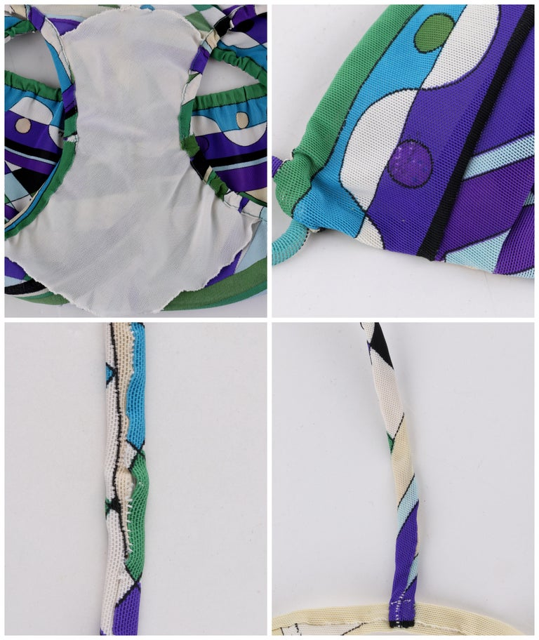 EMILIO PUCCI c.1960's Blue Signature Print 2 Piece Bikini Bathing Suit Swimsuit For Sale 3