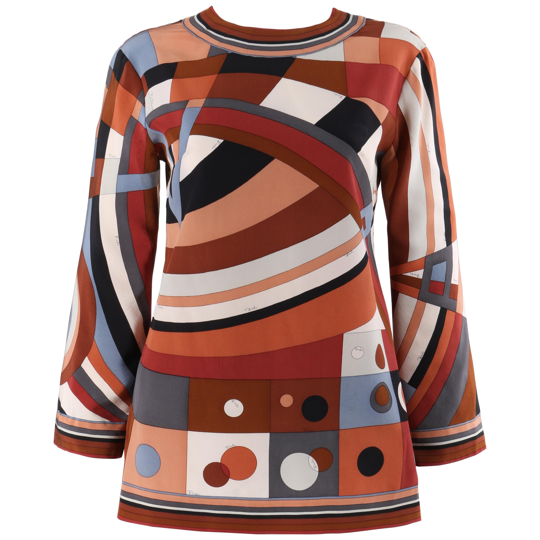 EMILIO PUCCI c.1960's Brown Multicolor Op Art Signature Print Shirt Blouse